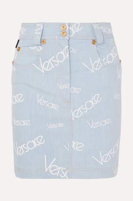 Versace Printed Denim Mini Skirt - Light denim
