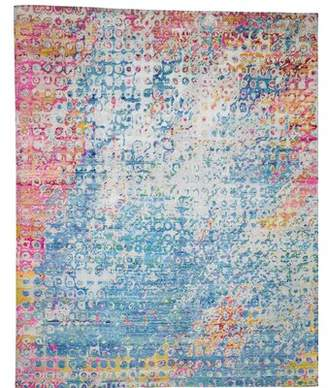 """Bungalow Rose One-of-a-Kind Leeman Hand-Knotted 8'1"""" x 10' Silk Blue/Pink/Yellow Area Rug"""