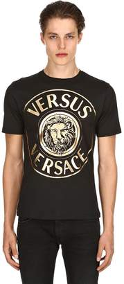 Versus Lion Printed Cotton Jersey T-Shirt