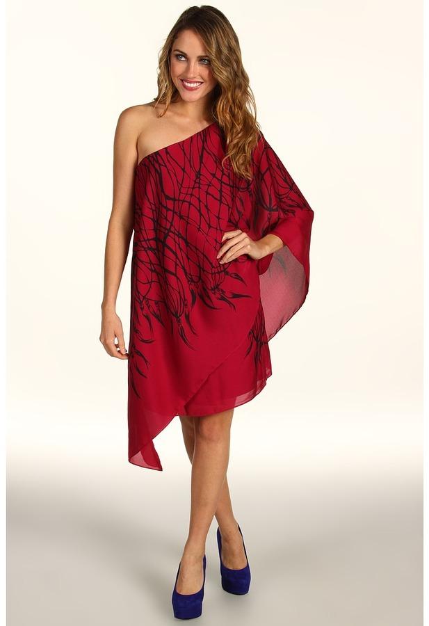 Max & Cleo Penelope One-Shoulder Dress (Lipstick Red) - Apparel