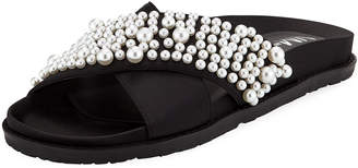Neiman Marcus Kips Satin Pearly Sandal