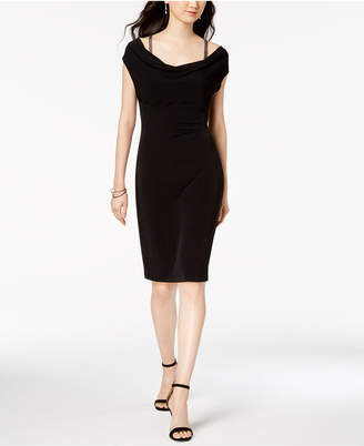 Connected Petite Ruched Cowl-Neck Ruched Dress