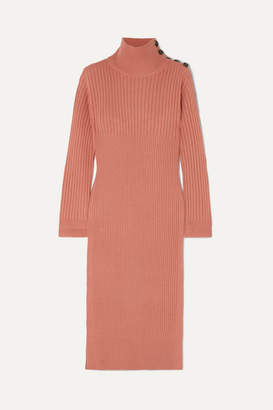 See by Chloe Ribbed Wool-blend Turtleneck Midi Dress - Blush