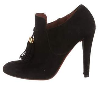 Gucci Suede Round-Toe Booties Black Suede Round-Toe Booties