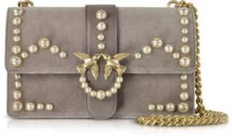 Pinko Love Velvet Pearls Shoulder Bag
