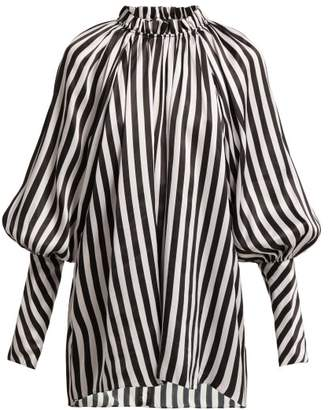 Lee Mathews - Diana Striped Silk Blouse - Womens - White Black