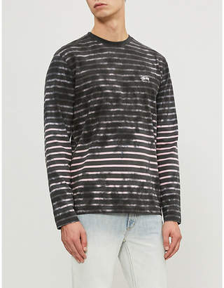 Stussy Bleached striped cotton-jersey T-shirt
