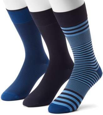 Marc Anthony Men's 3-pack Striped & Solid Microfiber Dress Socks