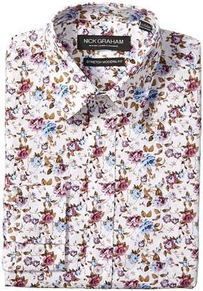 Nick Graham Floral Print Stretch Shirt Men's Long Sleeve Button Up