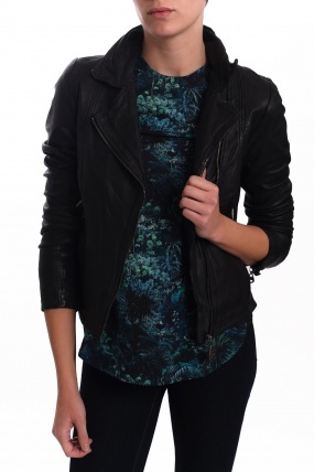 Doma Quilted Leather Jacket Black