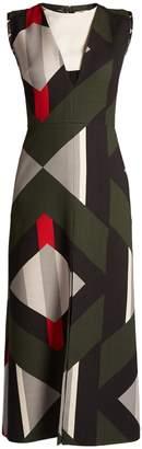 Fendi Lozenges-print cut-out front wool-blend dress