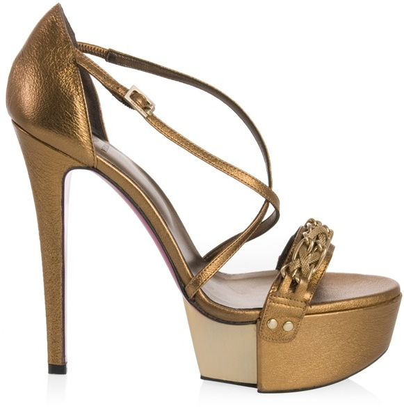 VERSACE - Bronze leather platform sandals