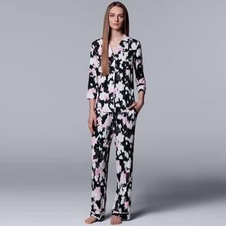 Vera Wang Women's Simply Vera Printed Notch Collar Shirt & Pants Pajama Set
