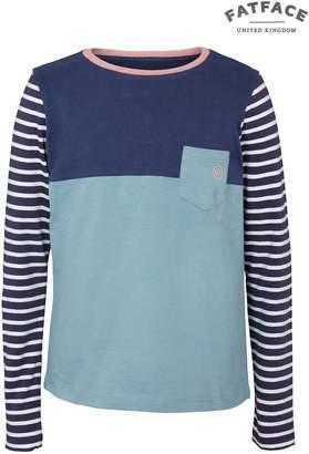 Next Girls FatFace Light Navy Cut And Sew Pocket T-Shirt