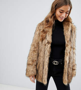 Asos DESIGN Petite stand collar faux fur coat