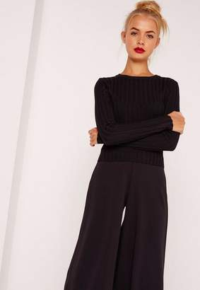 Missguided Black Extreme Rib Basic Cropped Sweater