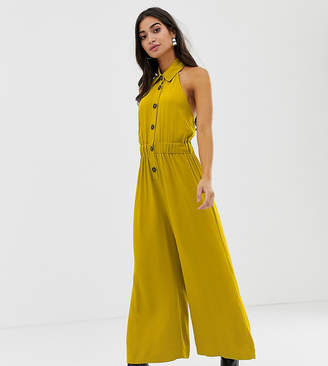30912803a09 Asos DESIGN Petite button front collar culotte jumpsuit