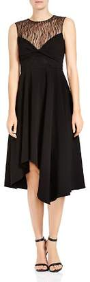 Halston Lace-Inset Twist Detail Midi Dress