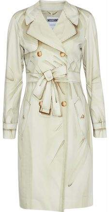 Double-Breasted Printed Stretch-Cotton Trench Coat