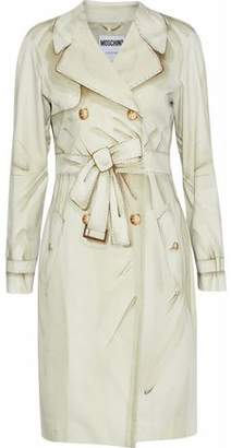 Moschino Double-Breasted Printed Stretch-Cotton Trench Coat