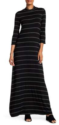 Max Studio Striped Mock Neck Maxi Dress
