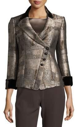 Armani Collezioni Jacquard Asymmetric-Button Jacket, Neutral