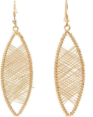 Kenneth Jay Lane Gold-Tone Wire-Wrapped Oval Drop Earrings
