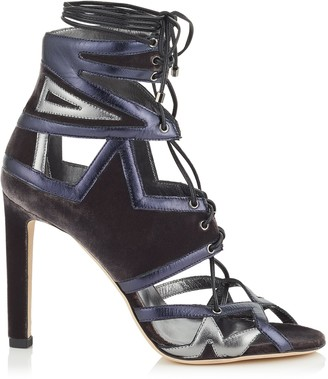 Jimmy Choo DENNEY 100 Mink Velvet and Metallic Nappa Leather Sandals