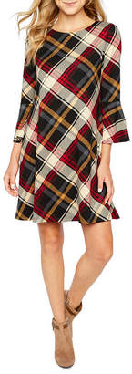 Jessica Howard 3/4 Bell Sleeve Plaid A-Line Dress