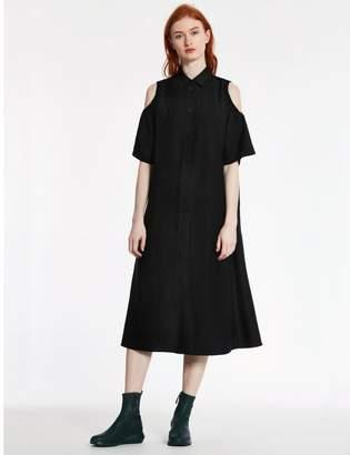 Calvin Klein wool cupro twill cut-out dress
