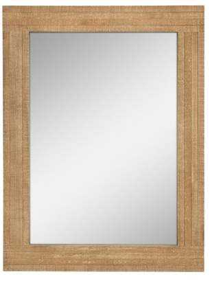 STONEBRIAR COLLECTION Stonebriar Rustic Rectangular Natural Wood Frame Hanging Wall Mirror with Attached Mounting Brackets