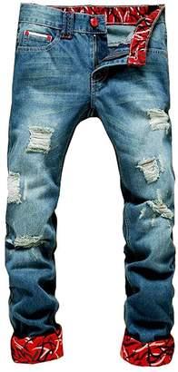 3.1 Phillip Lim FashionRun Men's Fashion Ripped Slim Fit Destroyed Tapered Leg Jeans Waist 34