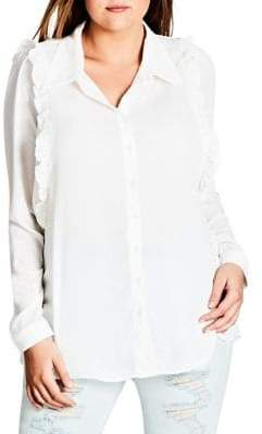 City Chic Plus Frill Button-Down Shirt