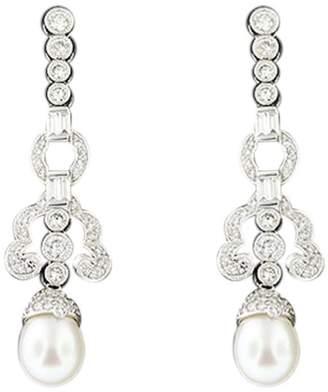Platinum Diamond Pearl Drop Wedding Or Black Tie Earring