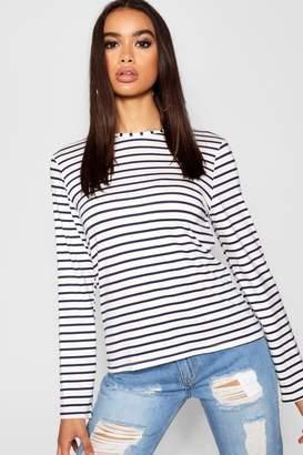 boohoo Stripe Long Sleeve T-Shirt
