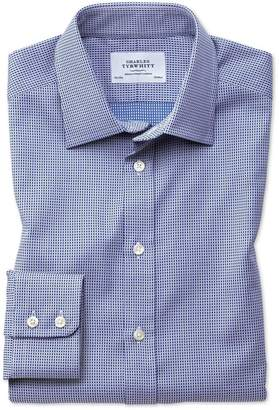 Charles Tyrwhitt Classic Fit Egyptian Cotton Diamond Spot Navy Blue Dress Shirt Single Cuff Size 15.5/33