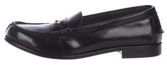 Fendi Leather Round-Toe Loafers