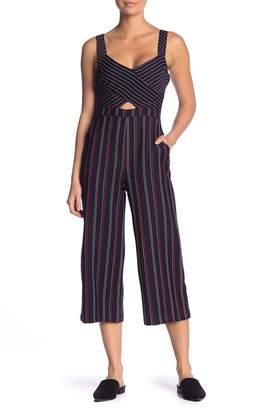 BCBGeneration Mixed Media Stripe Cropped Jumpsuit