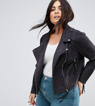 Missguided Plus Faux Suede Biker Jacket