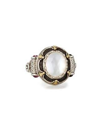 Konstantino Faceted Mother-of-Pearl Ring with Pink Sapphire, Size 7