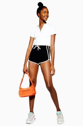 Topshop Womens Petite Waffle Runner Shorts - Black