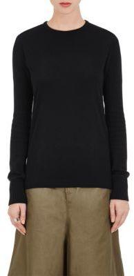 Yohji Yamamoto Women's Cotton Knit-Sleeve Shirt-BLACK $450 thestylecure.com