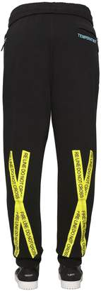 Off-White Fire Line Tape Printed Cotton Sweatpants