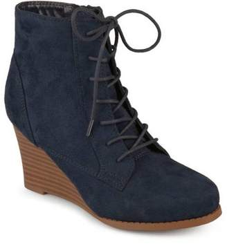 d57f2e2a808043 Womens Lace-up Faux Suede Stacked Wedge Booties