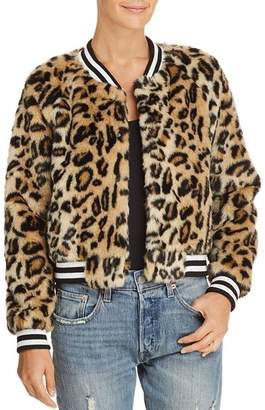 BB Dakota Clever Girl Leopard Print Faux Fur Bomber Jacket