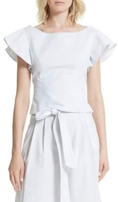 Milly Dakota Ruffle Sleeve Top
