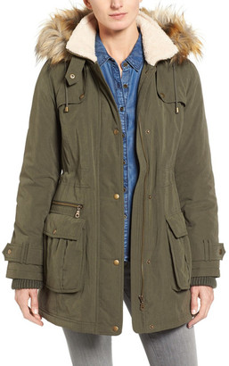 Halogen Hooded Anorak with Faux Fur Trim $229 thestylecure.com