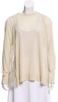 Hotel Particulier Lace-Accented Scoop Neck Sweater w/ Tags