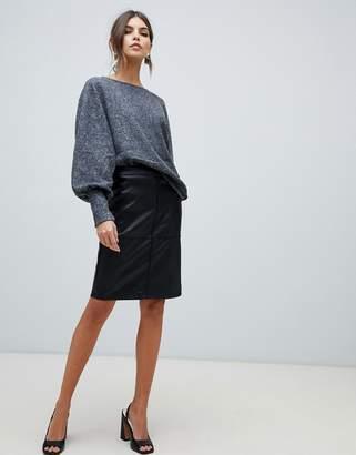 Vila Faux Leather Pencil Skirt