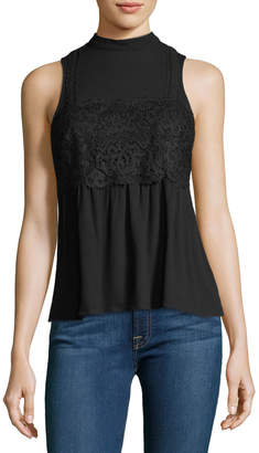 Willow & Clay Mock-Neck Lace-Panel Top